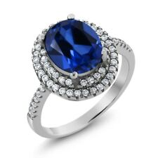 4.80 Ct Oval Blue Created Sapphire 925 Sterling Silver Ring