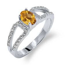 1.18 Ct Oval Checkerboard Yellow Citrine 14K White Gold Ring