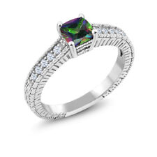 1.00 Ct Green Mystic Topaz White Created Sapphire 925 Sterling Silver Ring