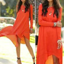 Women Summer Chiffon Dress Cocktail Party Casual Pleated Dress Long Maxi Dresses