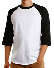 Mens 3/4 Raglan Sleeve Baseball T-Shirt, Athletic Casual Tees - White/Black