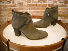 Marc Fisher Dark Olive Distressed Leather Edda Zipper Ankle Boots NEW