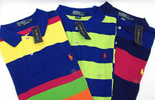 NWT Polo Ralph Lauren SS Striped Cotton Mesh Polo Shirt $89-110 W Pony Blue Pink