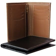 New Mens Genuine 100% Leather Bifold Wallet ZIPPER Credit / ID Card Purse
