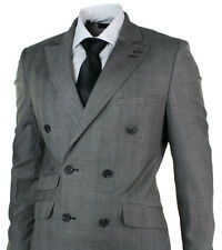 Mens Double Breasted Light Grey Check Suit Tailored Fit Stitch Design