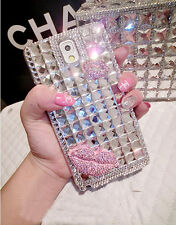 Elegant Bowknot Lip Bling Crystal Rhinestone Back Hard Case For Samsung Iphone