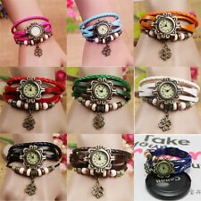 Ladies Bronze Four Leaf Clover Charm Leather Bangle Bracelet Quartz Watch Choice