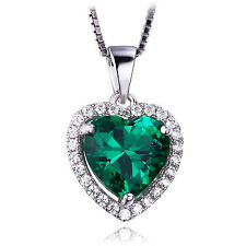 Heart Nano Russian Emerald Pendent Necklace Chain Solid 925 Sterling Silver