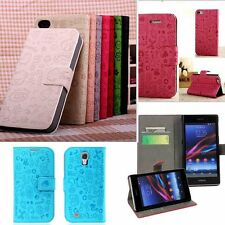 For Samsung Phone Wallet Case Cover Card Holder Purse Leather Stand Flip Cute