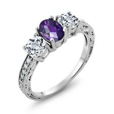 1.87 Ct Oval Checkerboard Purple Amethyst White Topaz 925 Sterling Silver Ring