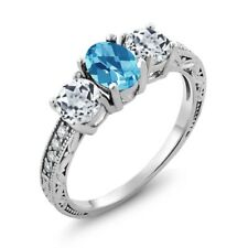 2.07 Ct Oval Checkerboard Swiss Blue Topaz White Topaz 925 Sterling Silver Ring