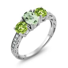 1.87 Ct Oval Green Amethyst Green Peridot 925 Sterling Silver Ring