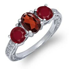 2.12 Ct Oval Red Garnet Red Ruby 925 Sterling Silver Ring