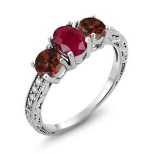 2.24 Ct Oval Red Ruby Red Garnet 925 Sterling Silver Ring
