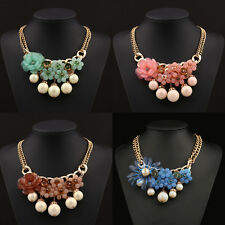 2015 New Gold Chain Crystal Rose Flower Bib Statement Chunky Pearl Necklace 10YA