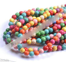 Wholesale 4MM 6MM 8MM 10MM Howlite Mixed Turquoise Gemstone Round Loose Beads