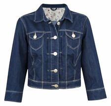 LADIES CROPPED DENIM JACKET COAT DARK BLUE NEW LOOK WOMENS