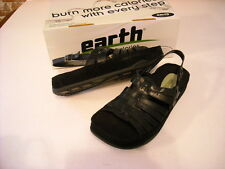 Earth Kalso Black Iris Strappy Leather Ankle Strap Sandal NEW