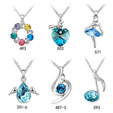 Fashion Women 18K white gold GP Swarovski Crystal Necklace Lucky Heart Pendants