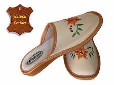 Women's Slippers SCUFF Natural LEATHER beige brown SIZE US WOMAN 7 - 10 NEW