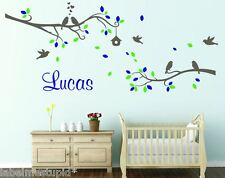HUGE 2x Tree Branches + Any Custom Name Wall Sticker Flowers Squirrel Birds Owls
