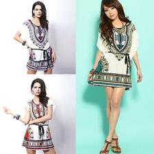 Sexy Womens Ladies Vintage Print Beach Party Boho Vintage Bohemian Casual Dress