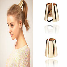 High European Metal Circle Hair Cuff Ponytail Elastic Rope Band Tie Holder Ring