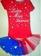 "July 4th Girls ""Little Miss America"" Red White & Blue Tutu Skirt & Blouse Tulle"