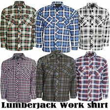 Mens Flannel Lumberjack Casual Check Shirt Brush Cotton Work Long Sleeve