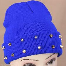 Novelty Women's Candy Color Autumn Winter Warm Rivet Knitted Woolen Hat Cap Hot
