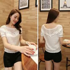 2015 Summer Women Fashion Chiffon Shirt  Lace Short Sleeve Casual Tops Blouse
