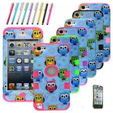 For iPod Touch 5th Gen - HARD&SOFT SILICONE HIGH IMPACT ARMOR CASE HYBRID COVER