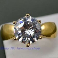 7# ,8#,9# 3.5ct CZ STONE 10mm 6g SOLITIARE RING 18K YELLOW GOLD GEP SOLID FILL