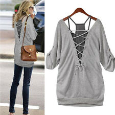 Summer Women's Loose Casual Cotton Long Sleeve T Shirt Tops Back Hollow Blouse