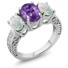 2.92 Ct Oval Purple Amethyst and White Simulated Opal 925 Sterling Silver Ring