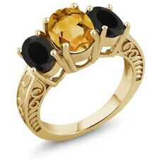 3.10 Ct Oval Yellow Citrine Black Onyx 18K Yellow Gold Plated Silver Ring