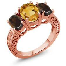3.00 Ct Oval Yellow Citrine Brown Smoky Quartz 18K Rose Gold Plated Silver Ring