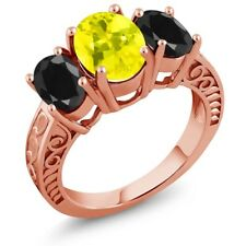 3.94 Ct Oval Canary Mystic Topaz Black Sapphire 18K Rose Gold Plated Silver Ring