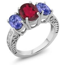 3.30 Ct Oval Red Mystic Quartz Blue Tanzanite 925 Sterling Silver Ring