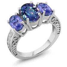 3.30 Ct Oval Millennium Blue Mystic Quartz Blue Tanzanite 925 Silver Ring