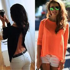 Womens Ladies Long Sleeve Backless Shirt Sexy Crew Neck Loose Chiffon Top Blouse