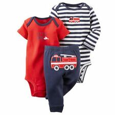 New Carter's 3 Piece Red Fire Truck Bodysuits Pant Set NWT 3m 6m 9m 12m 18m 24m