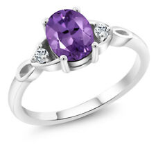 1.08 Ct Oval Purple Amethyst White Topaz 925 Sterling Silver Ring