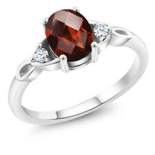 1.46 Ct Oval Checkerboard Red Garnet 925 Sterling Silver Ring