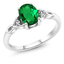 1.07 Ct Oval Green Simulated Emerald White Diamond 925 Sterling Silver Ring