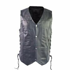 Black Leather Men's 10 Pocket Motorcycle Biker Vest Size Medium NWT