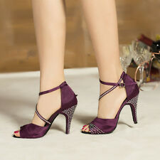 Hot Women Luxury Satin Crystal Rhinestone Ballroom SALSA Latin Tango Dance Shoes