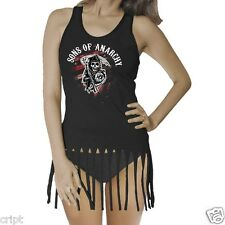 SONS OF ANARCHY STARS AND STRIPES JUNIORS BLACK TANK TOP GIRLS BIKER TV SHOW SOA