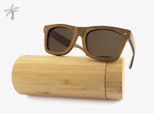 Cool Shades Bamboo Wooden Sunglasses Wayfarer Style Men Women Polarized Brown