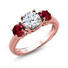 2.60 Ct Round White Topaz Red Created Ruby 18K Rose Gold Plated Silver Ring